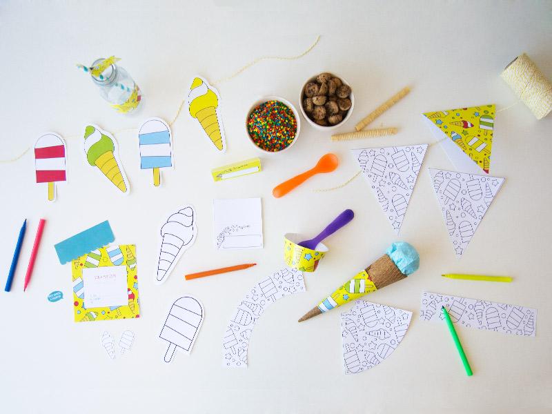kit imprimible para celebrar una fiesta de helados