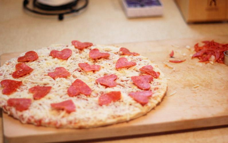 pizza con corazones